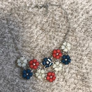 Red white and blue flower necklace